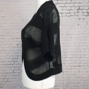 Nina Leonard Sweaters - LEMMIE Black Knitted Bolero Cardigan - Women's L